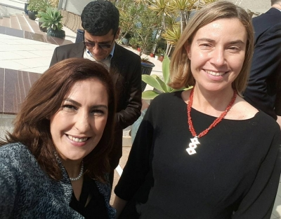 Meriem with Mogherini Meriem Chikirou takes a selfie with Federica Mogherini, High Representative of the European Union for Foreign Affairs and Security Policy