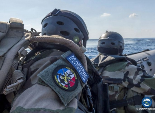 EU naval operation frigate acts to implement UN arms embargo of Libya