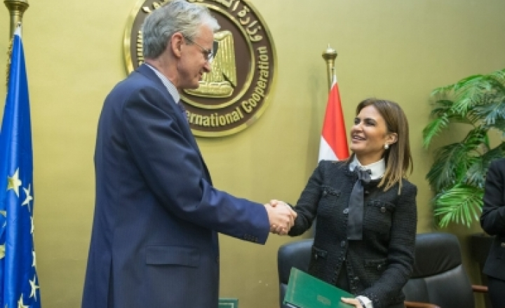EU Director-General (DG) for Neighbourhood and Enlargement Negotiations, Christian Danielsson and Minister of International Cooperation and Investment of Egypt, Sahar Nasr