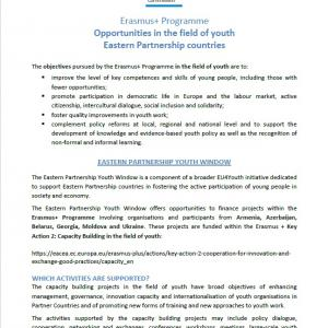 Cover of Erasmus+ Programme - Opportunities in the field of youth Eastern Partnership countries