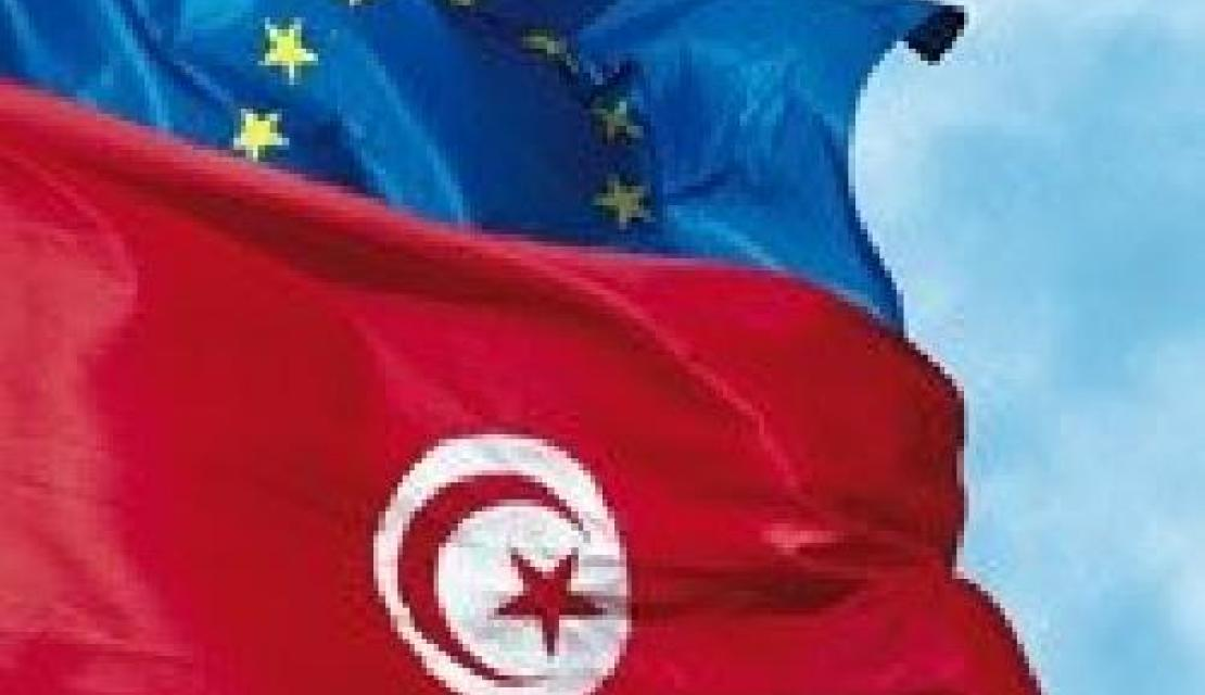 EU and Tunisia flags