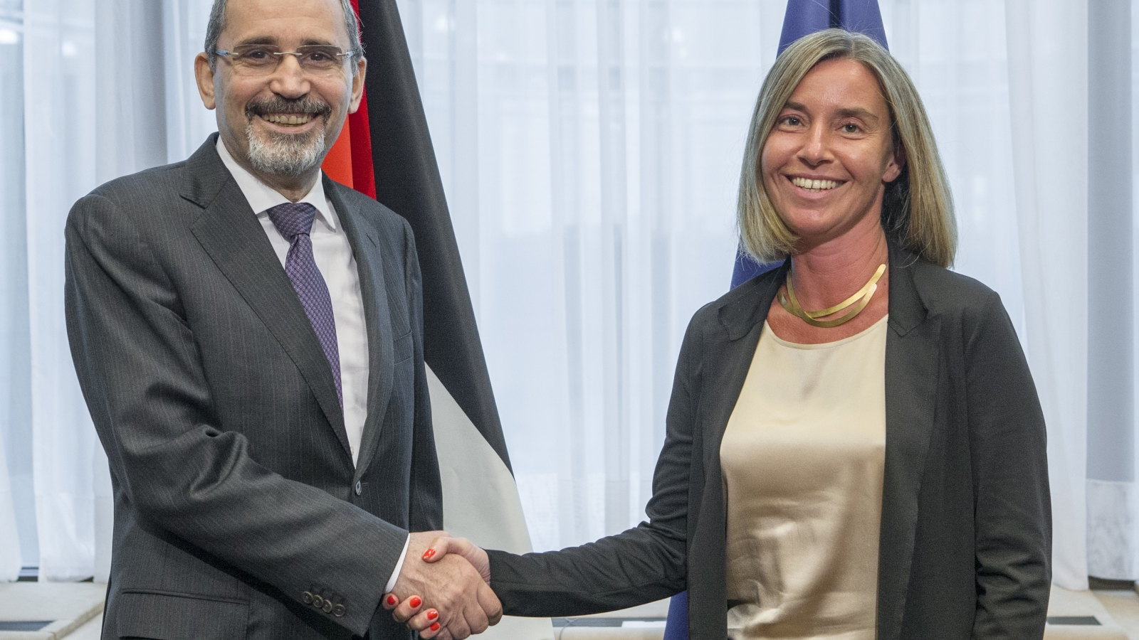 Ayman Safadi and Federica Mogherini
