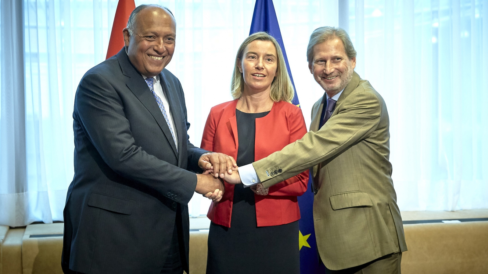 Sameh Shoukry, Federica Mogherini and Johannes Hahn