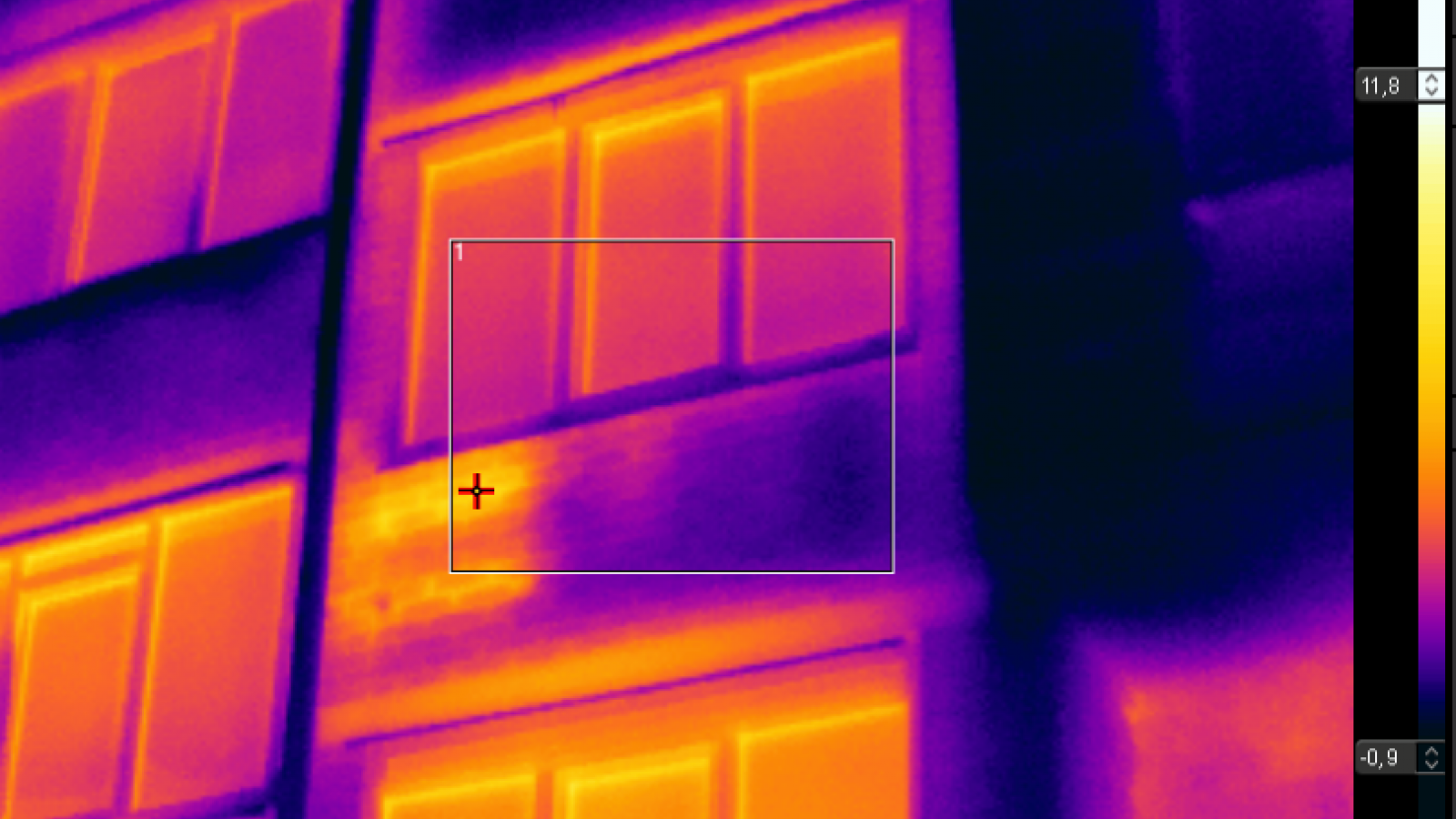 Photo of a building taken with IR camera