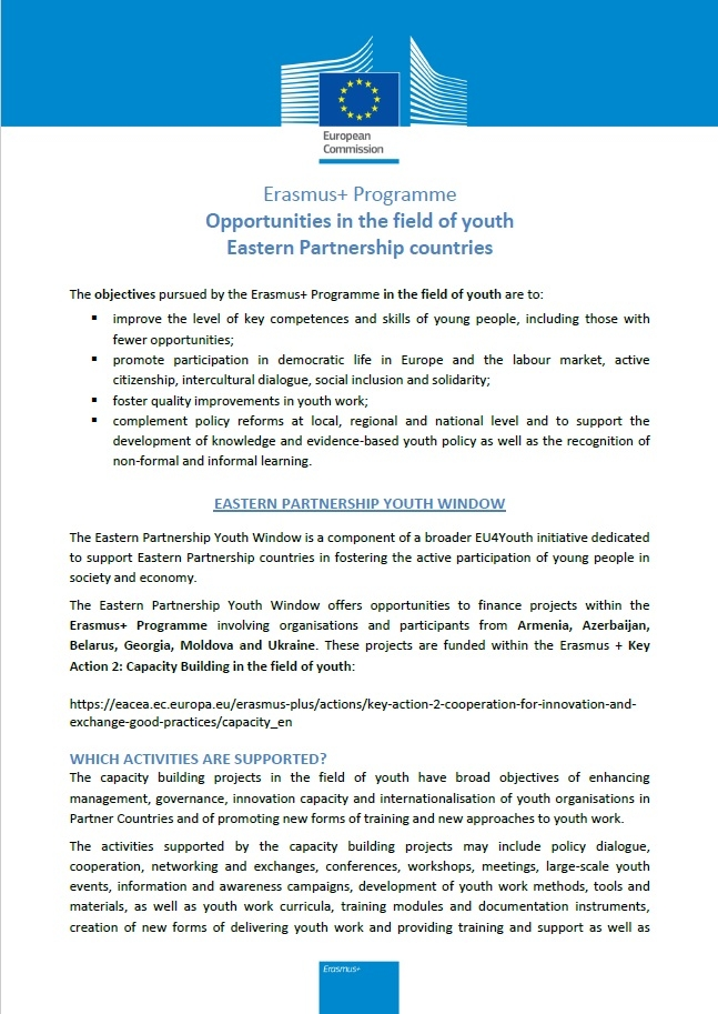 Erasmus+ Programme - Opportunities in the field of youth Eastern Partnership countries