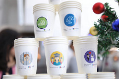 YEAs prepared special coffee cups with facts about Human Rights