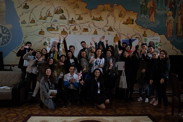 Young European Ambassadors in Georgia visit EuroClub in Vani with local clergy