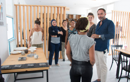 EU Ambassador in Tunisia Patrice Bergamini at the Hub Design Nabeul ceramic art workshop