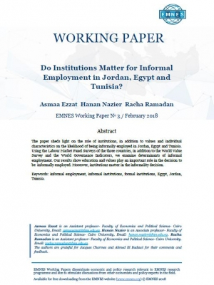 EMNES Working Paper n°3 : Do institutions matter for informal employment in Jordan, Egypt and Tunisia ?