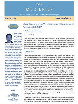 FEMISE MED BRIEF no5 : Egypt and the WTO Government Procurement Agreement