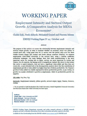 EMNES Working Paper 19- Employment intensity and Sectoral Output Growth: A Comparative Analysis for MENA economies