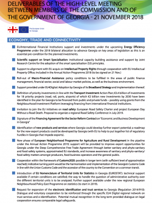 Deliverables of the high-level meeting between members of the EC and of the government of Georgia - factsheet