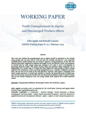 EMNES Working Paper 20 – Youth unemployment in Algeria and discouraged workers effects
