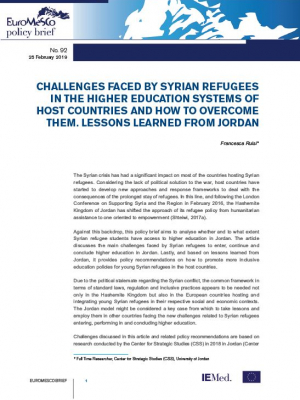 Euromesco policy Brief n°92 – Challenges faced by Syrian refugees in the higher education systems of host countries and how to overcome them : Lessons learned from Jordan