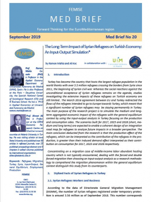 FEMISE MED BRIEF n°20 – The long-term impact of Syrian refugees on Turkish economy: an input-output simulation