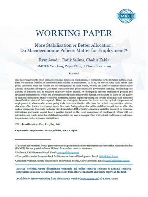 EMNES Working Paper n°27 – More stabilisation or better allocation : do macroeconomic policies matter for employment?