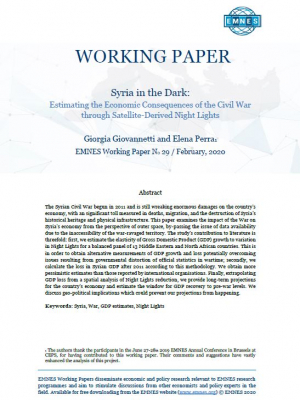 EMNES working Paper 29 – Syria in the dark : estimating the economic consequences of the civil war through satellite-derived night lights