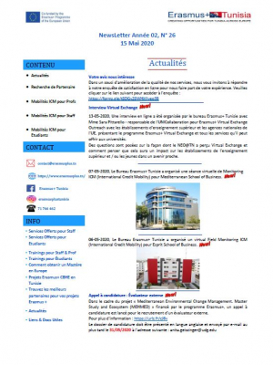 Erasmus+ Tunisia newsletter n°26 – 15 May 2020