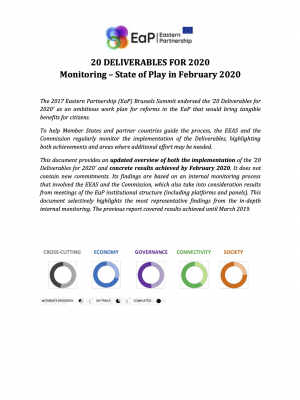20 DELIVERABLES FOR 2020 Monitoring – State of Play in February 2020