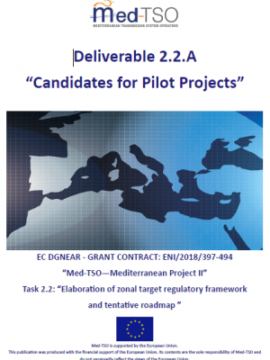 "MED-TSO deliverable 2.2.A. - ""Candidates for Pilot Projects"""