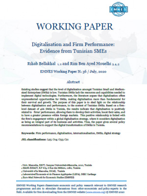 EMNES Working paper 36 - Digitalisation and firm performance: Evidence from Tunisian SMEs
