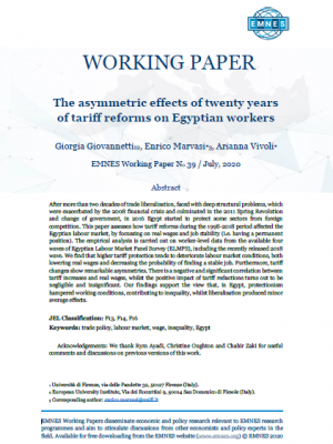 EMNES Working Paper 39 – The asymmetric effects of twenty years of tariff reforms on Egyptian workers