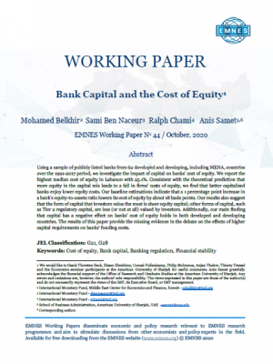 EMNES Working Paper 44 - Bank Capital and the Cost of Equity