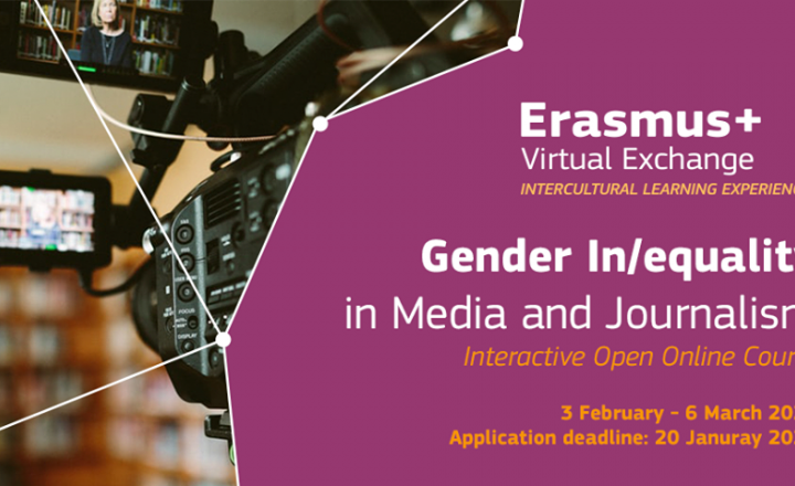 Erasmus+ Virtual Exchange : new online course on gender in/equality in media and journalism in February