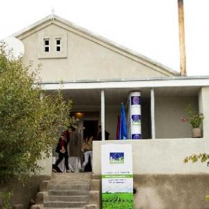 Armenian house with EU poster in front