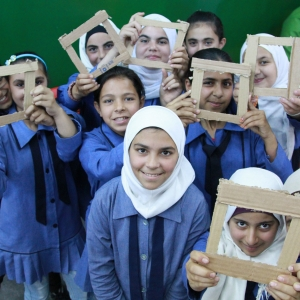 Young girls from the Kufr Yoba Primary School for Girls in Irbid, practicing the principles of framing