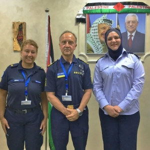 EUPOL COPPS Community Policing Advisers, Nina Krug (left) and Bengt Jansson (centre) with Nablus Community Policing District Coordinator Lana Mkhalalati (right)