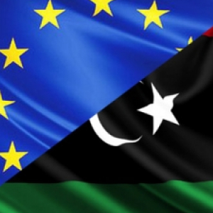 EU-Libya flags