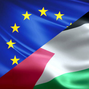 EU-Palestine flags