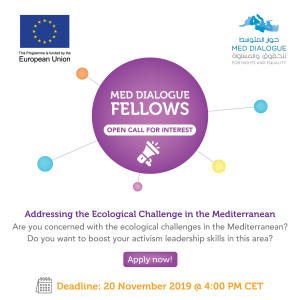 EU-funded Med Dialogue for Rights and Equality launches first call to address ecological challenge in the Mediterranean