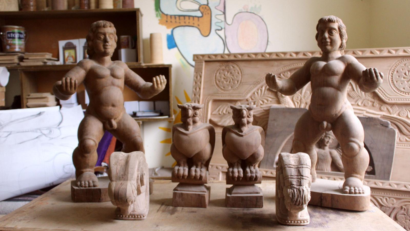 Wooden statues made in Snoveli Art Studio