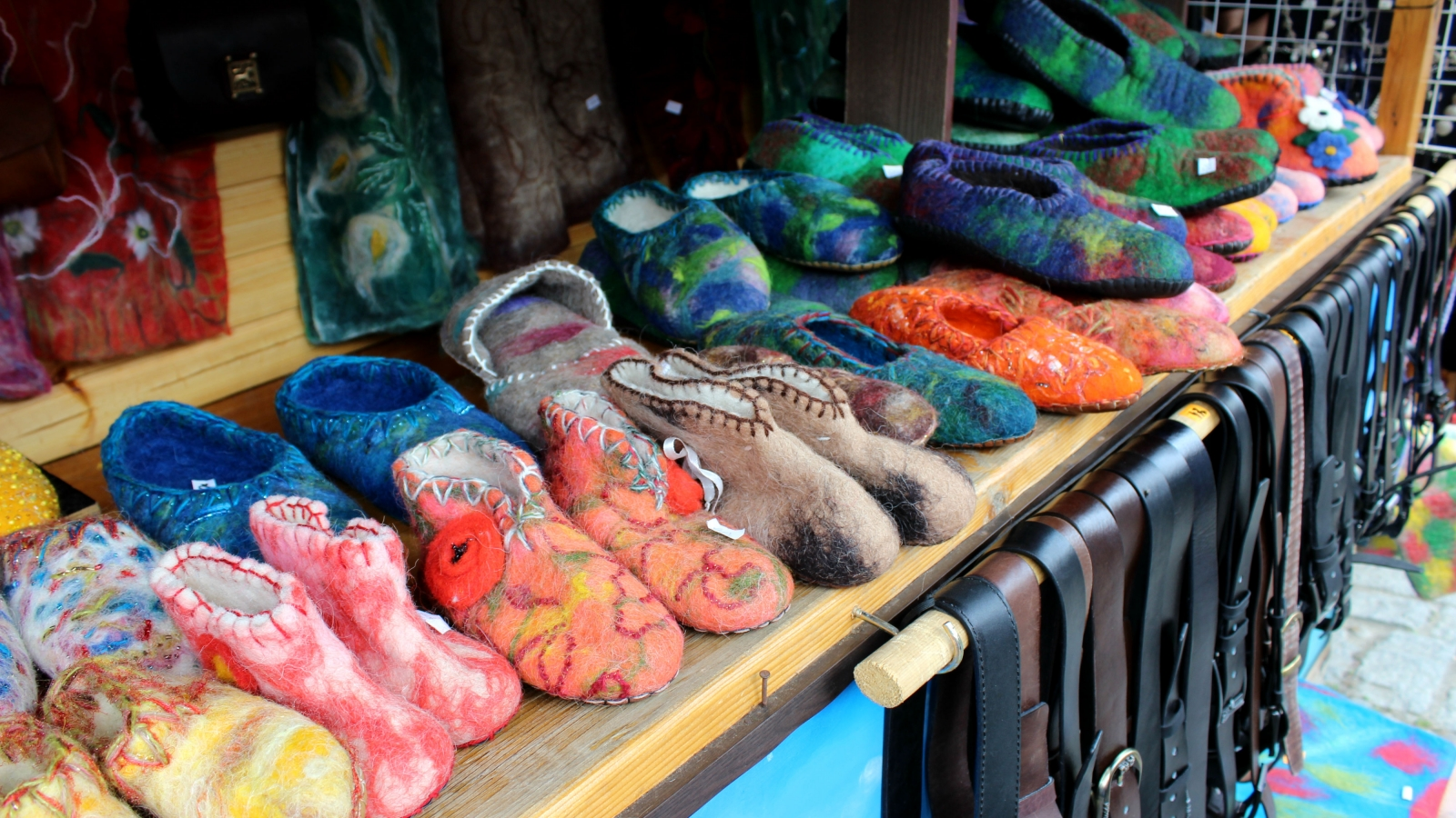 "felt slippers made at Lali Sadaghashvili's worksop ""Nerbi"" at old town in Mtskheta"