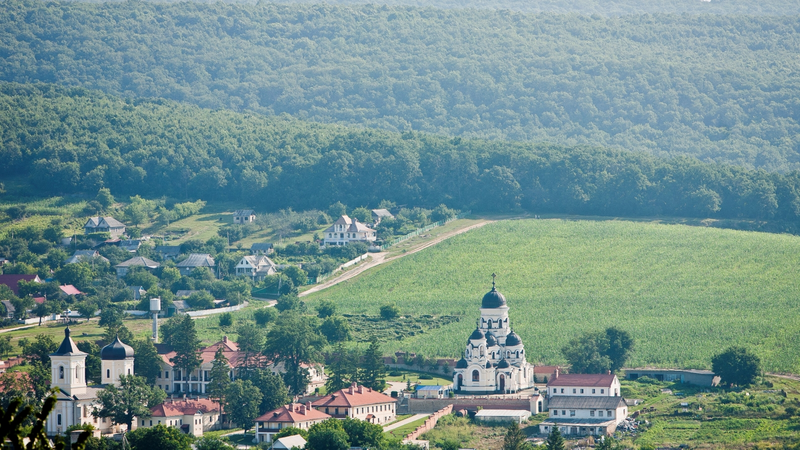 Codri forest. Village Capriana and its monastery, located in the central hills of Moldova (Credit: FLEG programme)