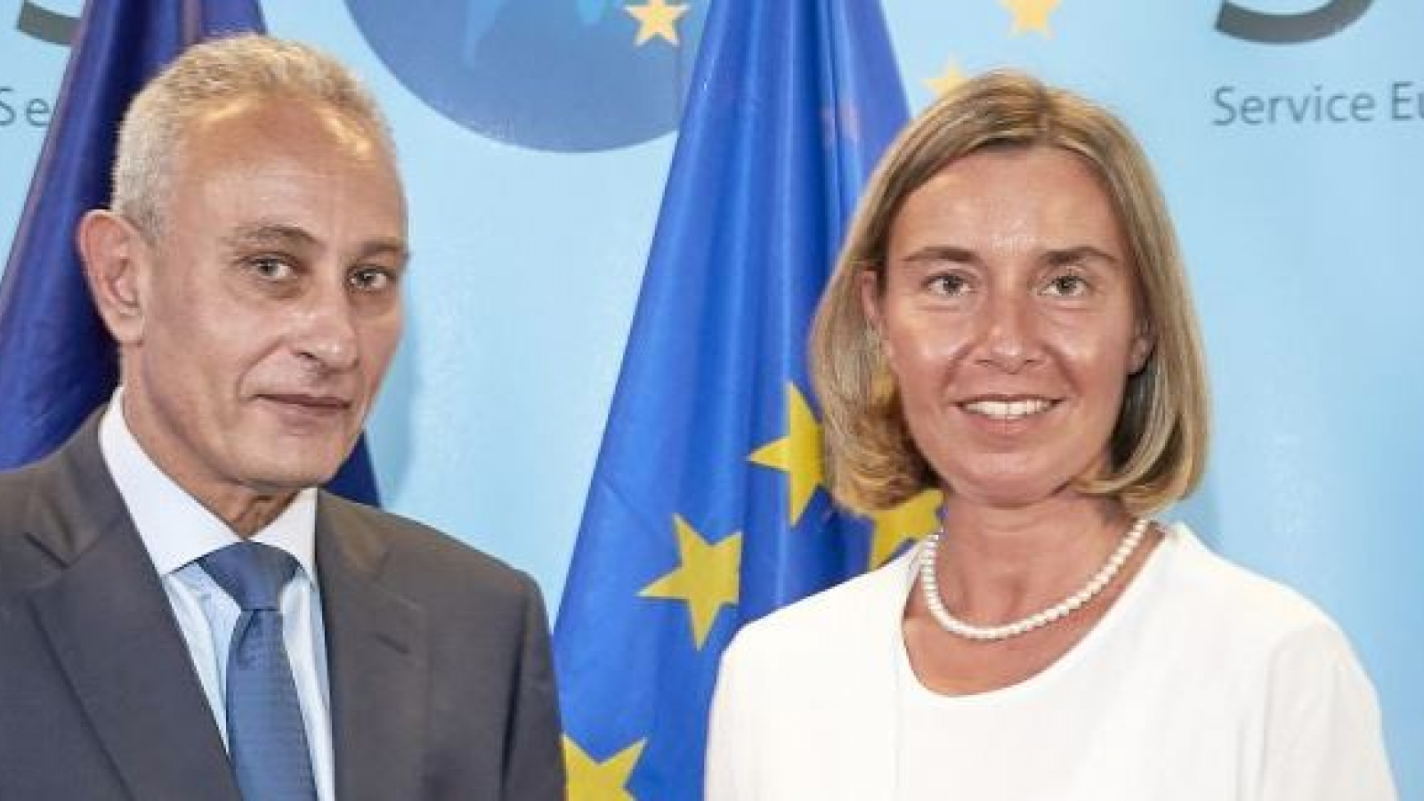 Federica Mogherini and UfM new Secretary General Nasser Kamel