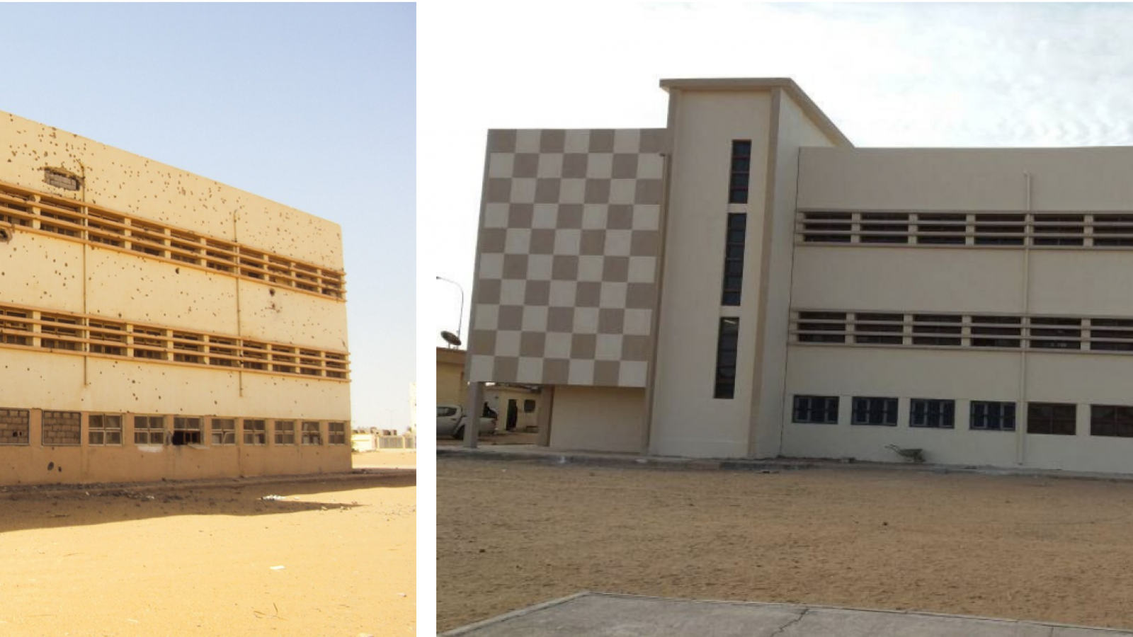 Alqurania School in Ubari before and after renovation. Photos by Ali Alshareef/ ©UNDP Libya