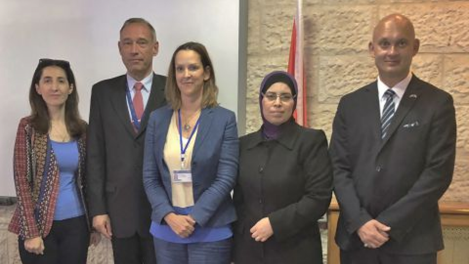 From Left: Director of the Palestinian Judicial Institute, Dr. Rasha Hammad; Head of the EU Coordinating Office for Palestinian Police Support, Kauko Aaltomaa; Deputy Head of Mission and Chief of Staff, Dr. Katja Dominik; Naila Younis, Acting General Director of the General Administration of training at the Palestinian Judicial Institute; and the Deputy Head of the Rule of Law Section, Peter Stafverfeldt.
