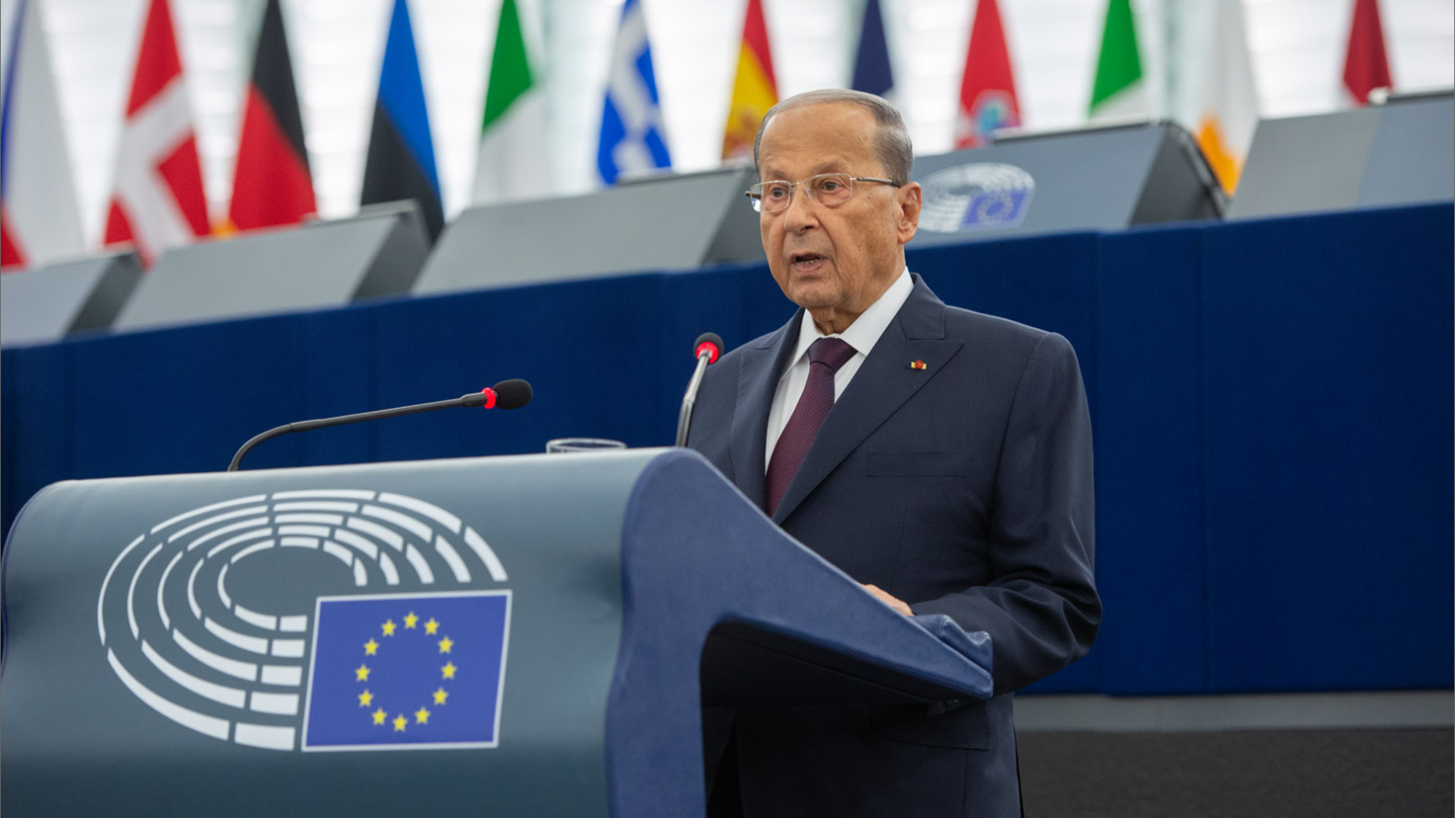 Lebanese President Michel Aoun addressed MEPs in Strasbourg on Tuesday