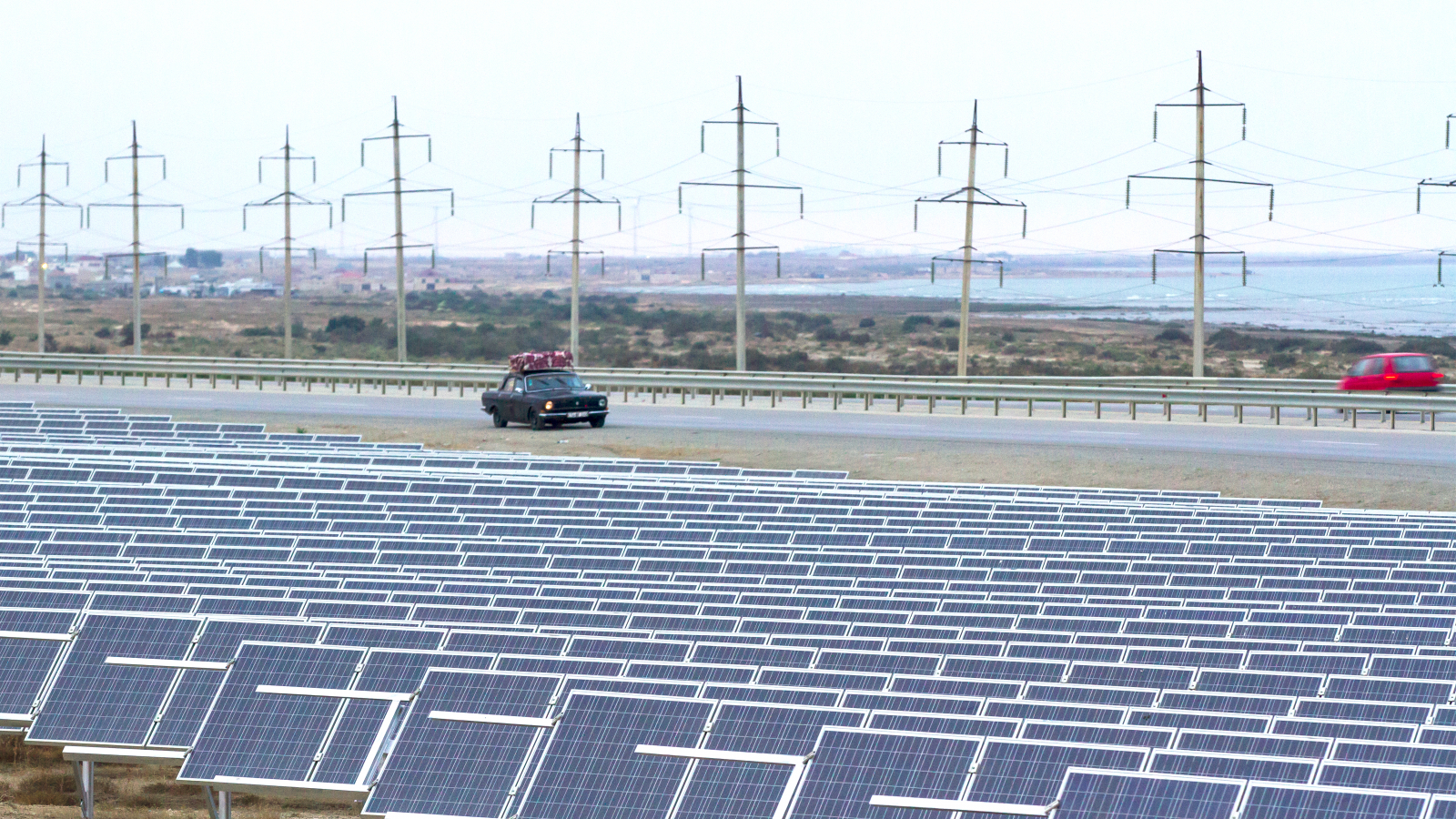 Solar power plant by Baku-Guba highway, Azerbaijan.
