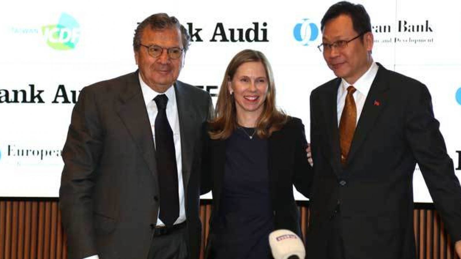 Samir Hanna of Bank Audi, Gretchen Biery of EBRD, Ismael Mae of TaiwanICDF