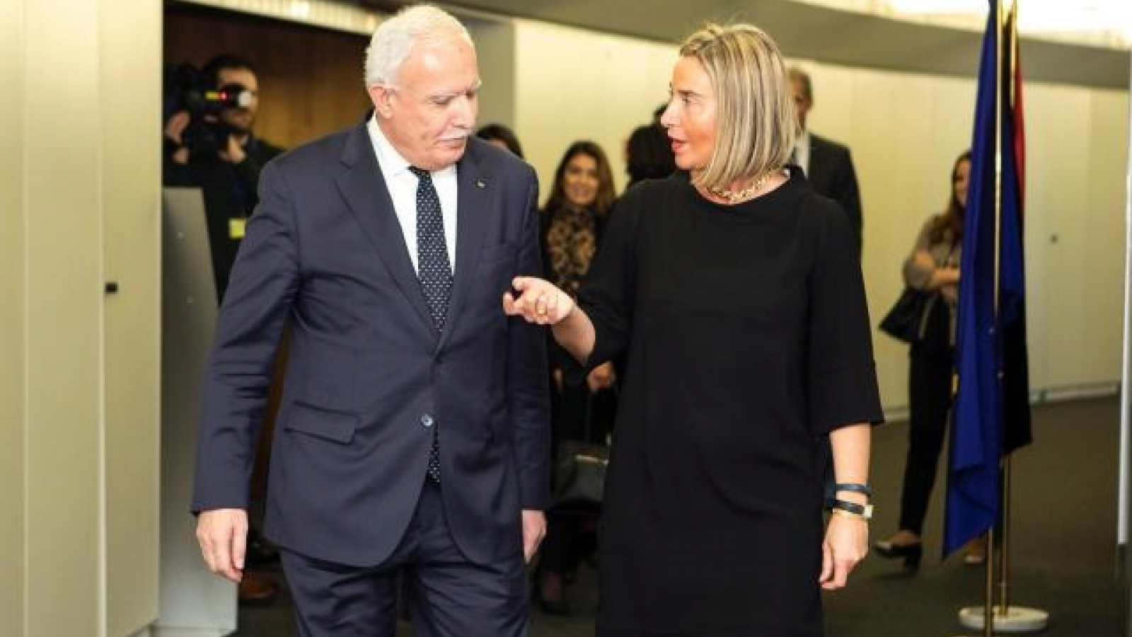 Federica Mogherini, High Representative for Foreign Affairs and Security Policy of the European Union/Vice-President of the European Commission and the Palestinian Minister of Foreign Affairs and Expatriates, Dr Riyad Al Malki.