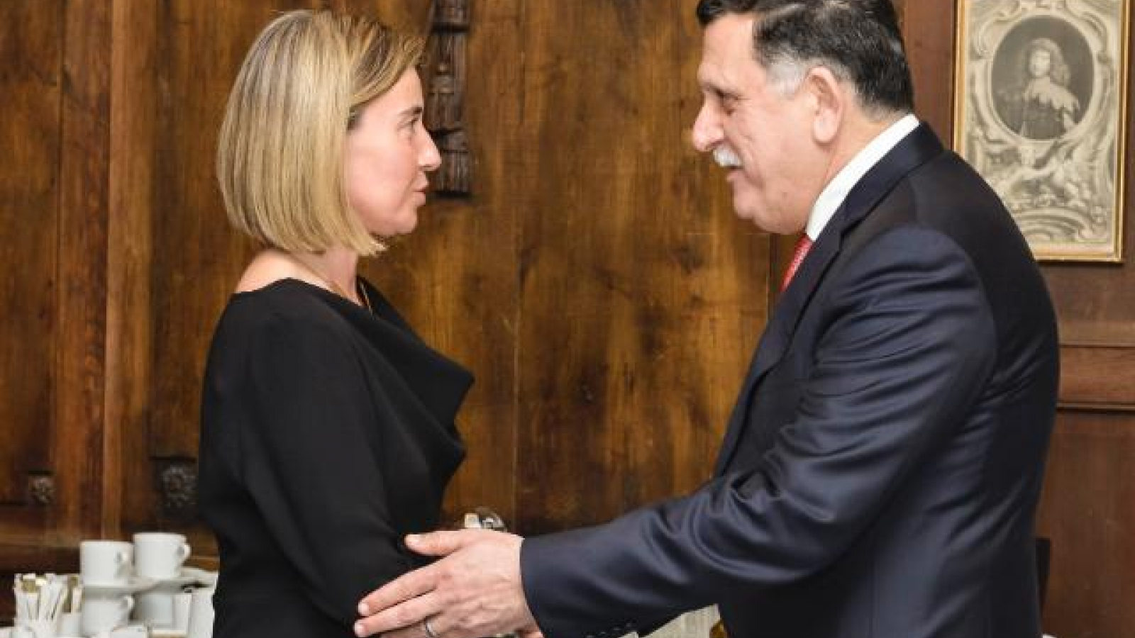 Federica Mogherini, High Representative for Foreign Affairs and Security Policy/Vice-President of the Commission and the President of the Presidential Council of Libya H.E. Fayez Mustafa al-Sarraj