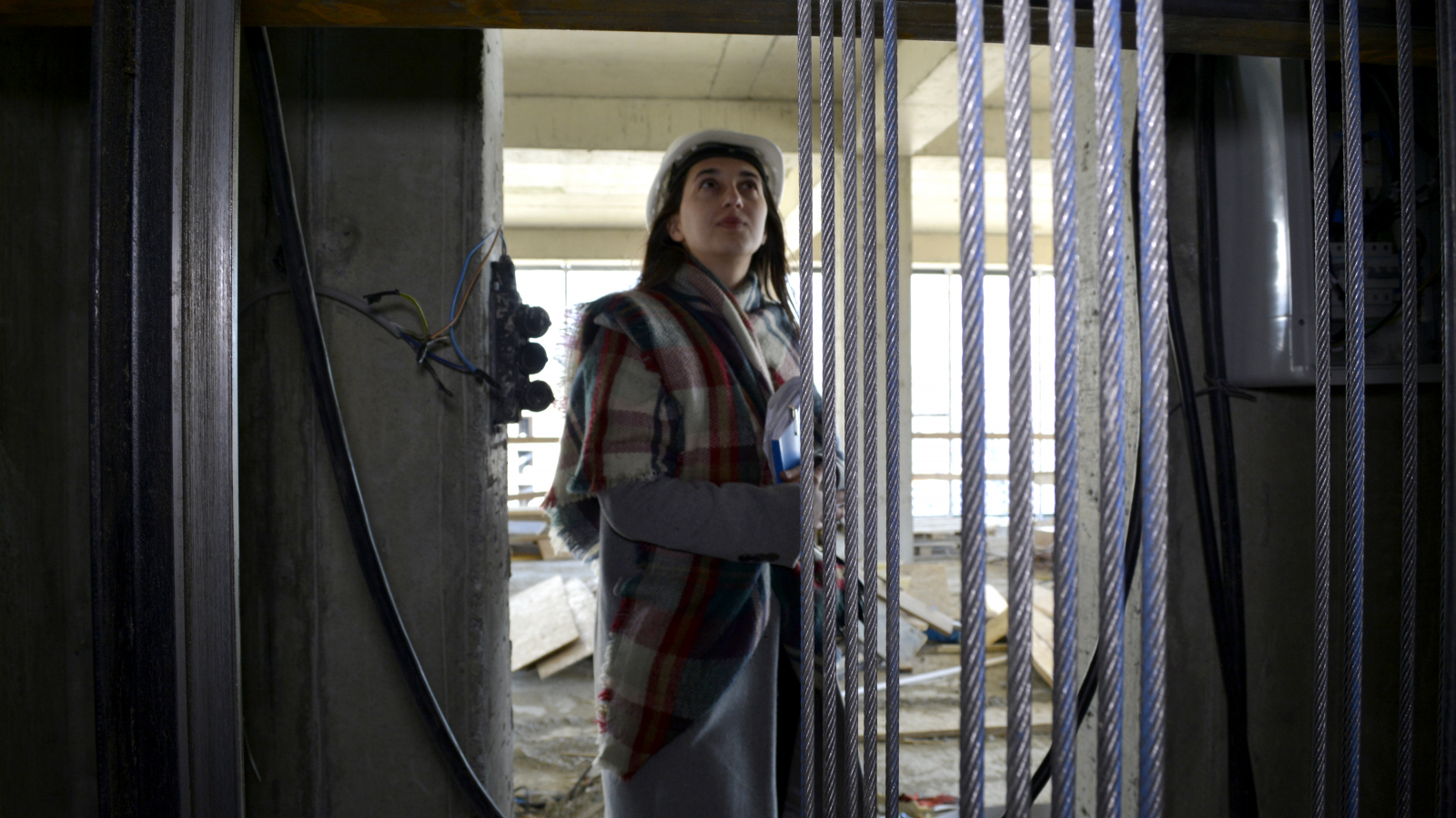 Irina Gloveli checks elevator shaft engineered by her company