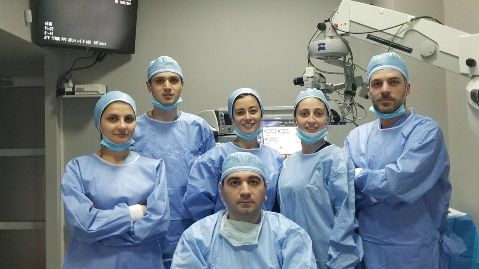 Tekla Mamageishvili and her colleagues after successful eye surgery