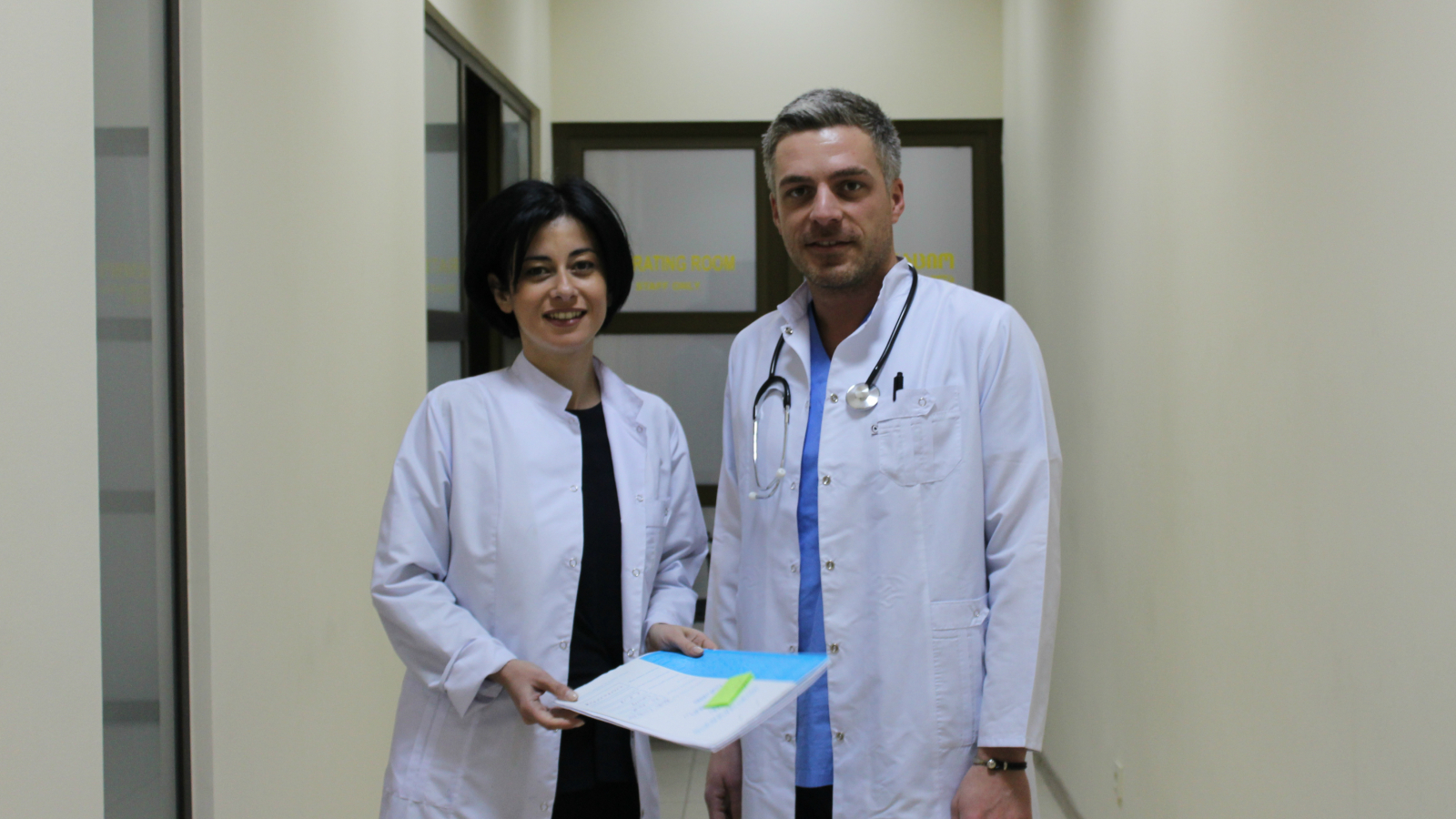 Tekla Mamageishvili and Nika Kacharava before surgery