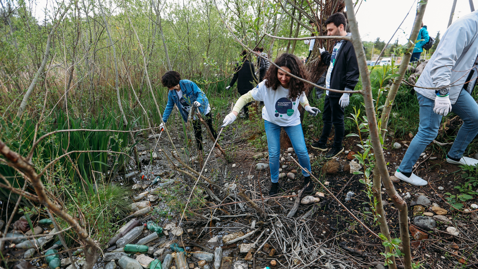 Activists gathered in Kutaisi on 22 April 2019 for waste clean-up action on Rioni River