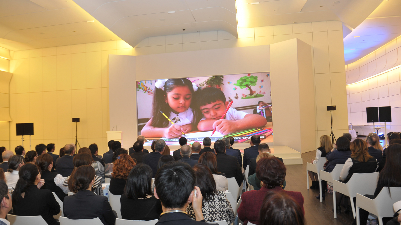 "Screening of the video ""We are all different, but equal"" during the official opening of the project"